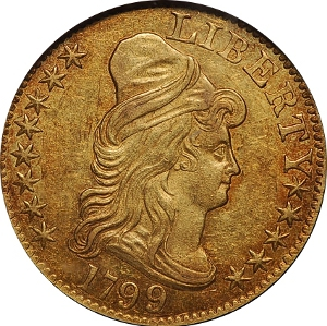 1799 $5 Gold Half Eagle Obverse
